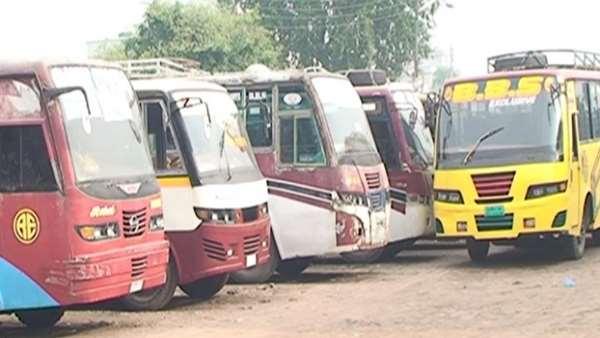 চাঁপাইনবাবগঞ্জে বাস চলাচল বন্ধ : সড়ক আইন সংশোধনের দাবি