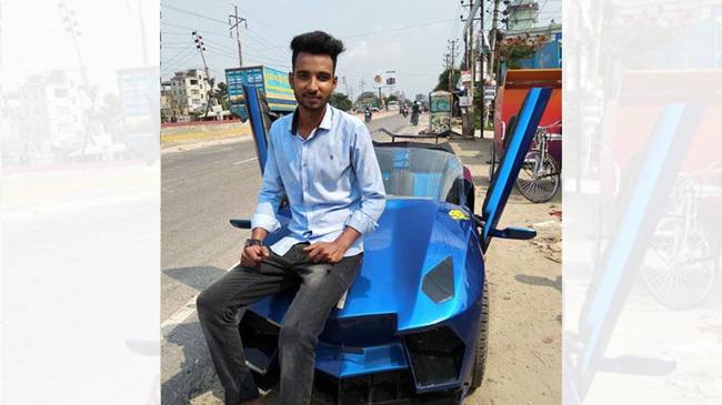'ল্যাম্বরগিনি'এর আদলে গাড়ি তৈরি করলো নারায়ণগঞ্জের আকাশ